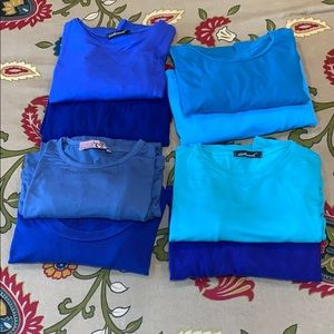 Shades of Blue Cotton Long Sleeve Tees Body Shirt